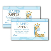 Blue Giraffe Printed Baby Shower Nappy Raffle Tickets