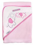 Mommy & Me, 90cm x 80cm Velour Hooded Towel, Elephant (pink), Frenchie Mini Couture