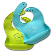 Cute Baby Bibs of Soft Waterproof Silicone from Happy Healthy Parent. Food & Crumb Catcher Bib Easily Wipes Clean and Comfortable to Wear for Babies or Toddlers, Includes Set of 2 Colours (Lime Green / Turquoise), Simplify Your Mealtime Experience Now!