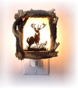 11cm Wooden Design with Antlered Deer Silhouette Night Light