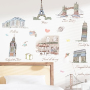 Kappier Travel Around the World - Famous Landmarks Removable Wall Decor Decal Sticker