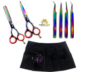 New J2 Multicolor Barber Hairdressing Shears + Scissors Holster + Eyebrow Tweezers Kit For Professionals & Students