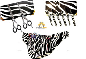 New J2 White Zebra Barber Hairdressing Shears + Scissors Holster + Eyebrow Tweezers Kit For Professionals & Students
