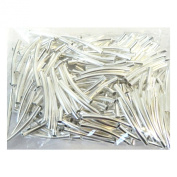 Rockin Beads Brand, 200 Curved Tube Beads 3x24mm Silver Plated Smooth Spacer Metal Bead 2mm Hole Pkg of 200