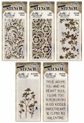 Tim Holtz - Early 2015 Release - Stencils Set 1 - Blossom, Flourish, Lace, Wildflower & Valentine - 5 Item Bundle