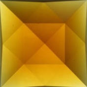 Stained Glass Jewels - 50mm Square Faceted - Lt Amber