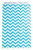 Novel Box® Blue Chevron Print Paper Gift Merchandising Bag Bundle 15cm X 23cm (100 Count) + Custom NB Pouch