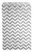 Novel Box® Silver Chevron Print Paper Gift Merchandising Bag Bundle 15cm X 23cm (100 Count) + Custom NB Pouch