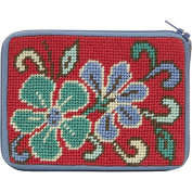 Stitch and Zip Coin/Credit Card Case Needlepoint Kit-Red Asian Floral SZ202