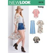 NEW LOOK 6378 Misses' Easy Kimonos with Length Variations Sewing Kit, Size A