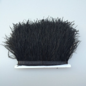 5 yards Black Ostrich Feather Trim Fringe on Satin Header 10cm - 15cm in Width for Wedding Sewing Crafts Costumes Decoration