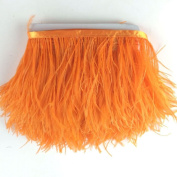 5 yards Orange Ostrich Feather Trim Fringe on Satin Header 10cm - 15cm in Width for Wedding Sewing Crafts Costumes Decoration