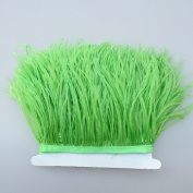 5 yards Lime Green Ostrich Feather Trim Fringe on Satin Header 10cm - 15cm in Width for Wedding Sewing Crafts Costumes Decoration