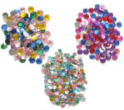 3 Assorted Sizes Rhinestones Sequins, 5mm 7mm & 8mm