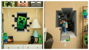 Minecraft Wall Decal 2 Piece Set Steve Mining / Creeper In Wall