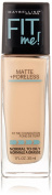 Maybelline New York Fit Me Matte Plus Poreless Foundation Makeup, Ivory, 1 Fluid Ounce