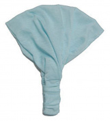 Soft Blue Solid Cotton Wide Pre Tie Headband - Minimalist Wide Cotton Pre-Tied Headband In Soft Blue