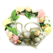 Bride Flower Wreath for Wedding Festivals Headband Floral Crown Garland Halo with Floral Wrist Band