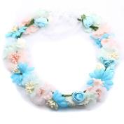 Bride Flower Wreath for Wedding Festivals Headband Floral Crown Garland Halo with Floral Wrist Band