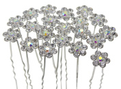 Newstarfactory Rhinestone Flower Design Collections U-sharped Metal Hair Pins Pack of 20