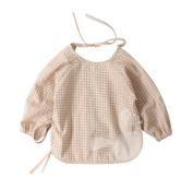 Organic Cotton Waterproof Sleeved Bib Baby Feeding Bibs Brown Plaid, 6-12 Months