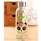 KAKA(TM) Lovely Cartoon Creative Transparent glass cup portable large capacity water bottle cup (430lm)-Black Panda