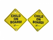 Child on Board - 2 Pack - Large 15cm x 15cm Yellow Car Signs with 2 Attached Suction Cups.