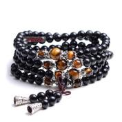 UDTEE New/Fashion Black Colour Tiger Eye Crystal Gemstone Tibet Buddhist Buddha Meditation 108 Prayer Bead Mala Bracelet/Necklace