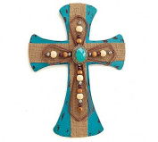 Beaded Turquoise Cross Hanging Wall Decor - Christmas Xmas Holiday Decorative Accessory