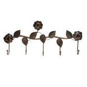 Rustic Bronze Garden Floral Pattern Wall Mounted 5 Coat Hook / Clothing Rack / Key Holder / Hat Hanger