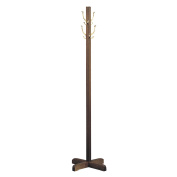 Quartet Solid Wood Costumer, Freestanding, 180cm , 4 Hooks, Walnut Finish
