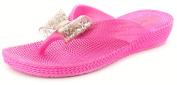 New Girls/Childrens Pink Slip On Glitter Jellie Wedge Sandals - Pink - UK SIZES 10-4
