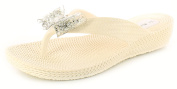 New Girls/Childrens White Jelly Toe Post Wedge Flip Flop Sandals - White - UK SIZES 10-4