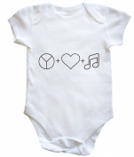 HippoWarehouse Peace, Love and Music baby vest boys girls