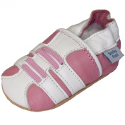 Soft Leather Baby girl Shoes with Suede Soles by Dotty Fish Pink and White Trainer design