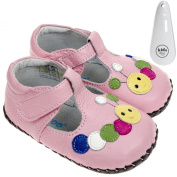 Freycoo - Girls Toddler REAL Leather Soft Sole Baby Shoes Pink with Caterpillar Design & Velcro - with Shoe Horn