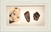 BabyRice 3D Baby Casting Kit Bronze Paint with Shabby Chic Cream Display Photo Frame
