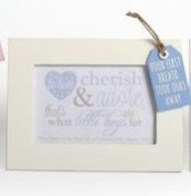 White Photo Frame Blue Baby Boy Tag Christening Present Gift New born