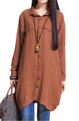 Voguees Women's Autumn Casual Patchwork Shirt With Front Buttons