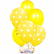 Balloons 28cm Premium Latex Assorted Yellow with White Polka Dots and Yellow Plain Pkg/24