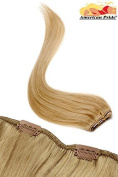 Single Weft | Clip in Hair Extensions | 6 clips | Human Hair Extensions 46cm Golden Caramel Brown (14) American Pride
