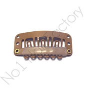 x 50 Hair Extension Snap Clips for Wig Weft 32mm / 3.2cm Tanned Brown