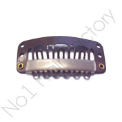 x 50 Hair Extension Snap Clips for Wig Weft 28mm / 2.8cm Brown