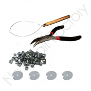 100 Hair Extension Silicone Micro Rings Tool Kit Black