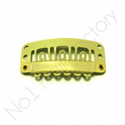 x 10 Hair Extension Snap Clips for Wig Weft 32mm / 3.2cm Blonde