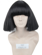 Topcosplay Women's Short Straight Fluffy Cosplay Wigs Halloween Party Hair Black