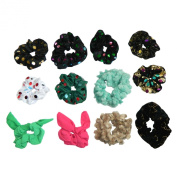 Scrunchie 12 Hairband Chiffon Velvet Hairband Ribbon Hairstyling