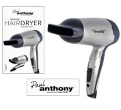Travel Dry 1200W Silver Hair Dryer With Folding Handle & Hanging Loop