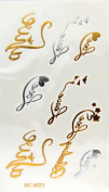 Super Metallic Gold Silver Black Jewellery Temporary Bling Tattoo Wing Tatoo 1 Sheet Pack