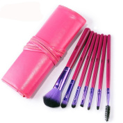 YINGMAN 7pcs Professional Pink Makeup Brushes Tool Soft Cosmetics Powder Eyeshadow Set with Red Leather Bag